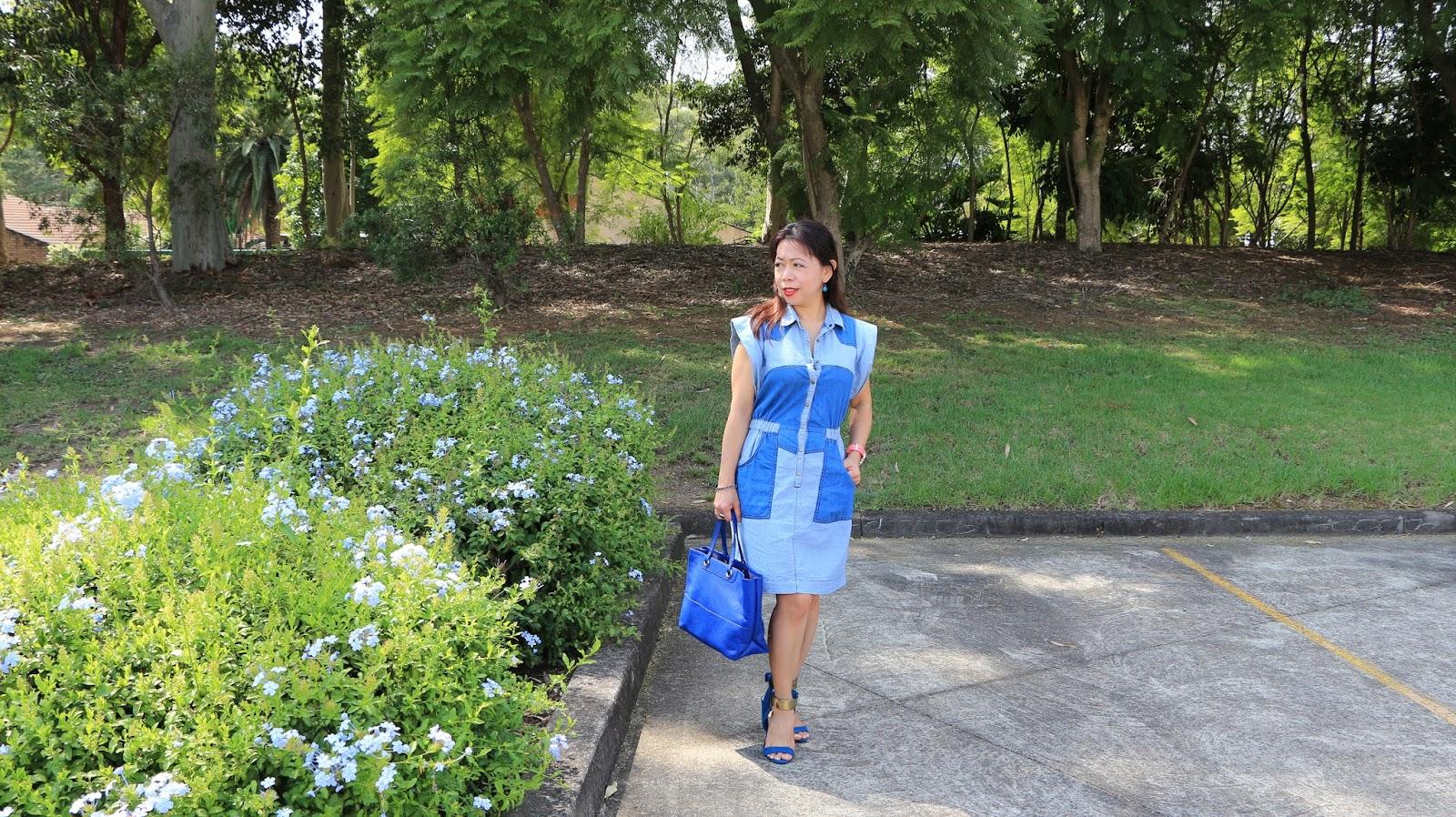 Two Tone Blue Denim Dress