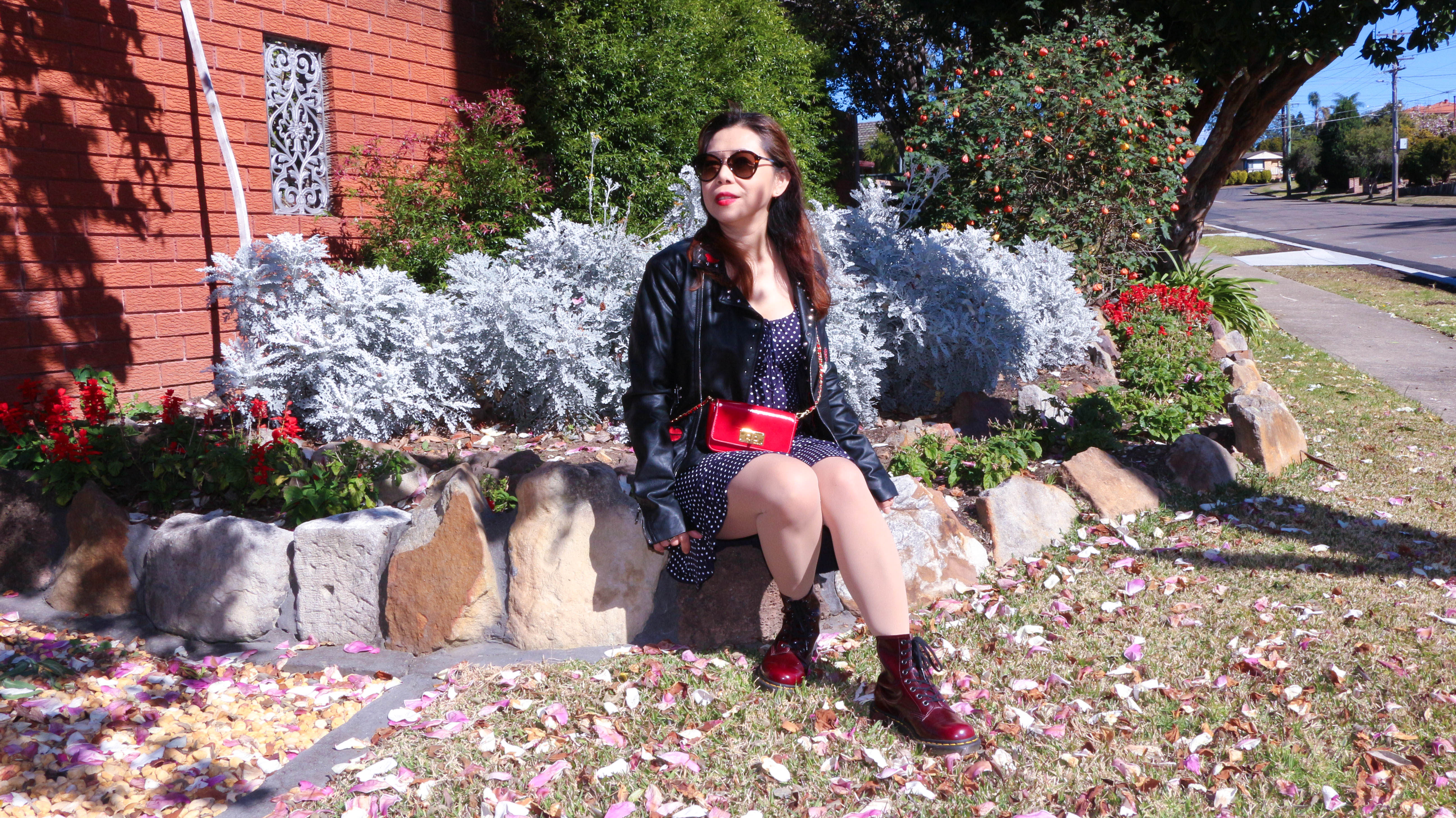 how to style a leather jacket and a dress