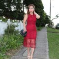 Red lace dress blog